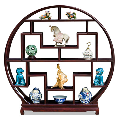 Dark Cherry Elmwood Asian Moon Curio Stand