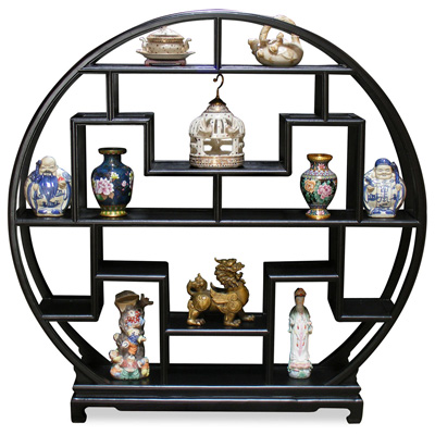 Matte Black Elmwood Asian Moon Curio Stand