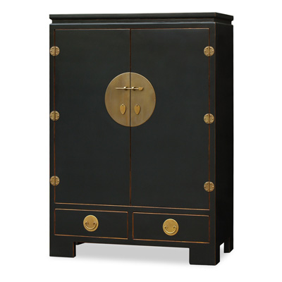 Distressed Black Elmwood Chinese Ming TV Armoire