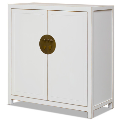 White Lacquer Elmwood Ming Armoire