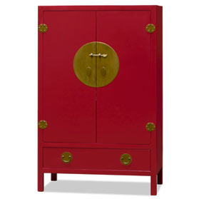 Red Elmwood Ming TV Armoire
