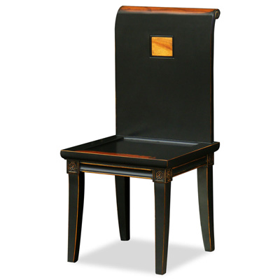 Distressed Black Elmwood Zhou Yi Asian Chair