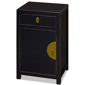 Distressed Black Petite Elmwood Chinese Ming Cabinet