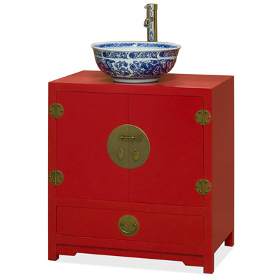 Red Elmwood Chinese Ming Vanity Cabinet