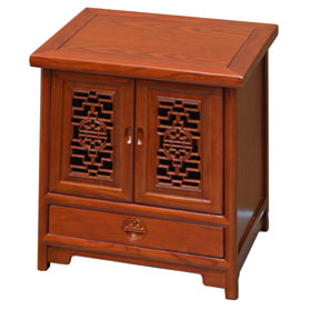 Walnut Finish Petite Elmwood Ming Cabinet with Lattice Doors