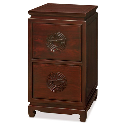 Dark Cherry Elmwood Chinese Longevity File Cabinet with 2 Drawers