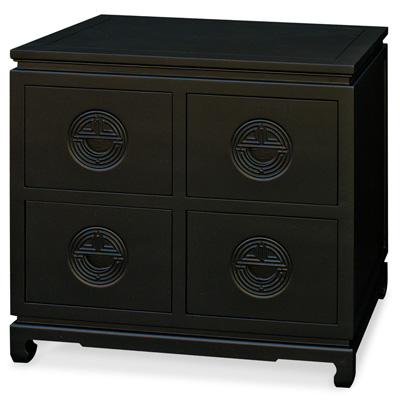 Black Elmwood Chinese Longevity Design 4 Drawer File Cabinet