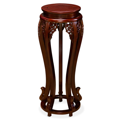 Mahogany Finish Elmwood Flower Motif Pedestal