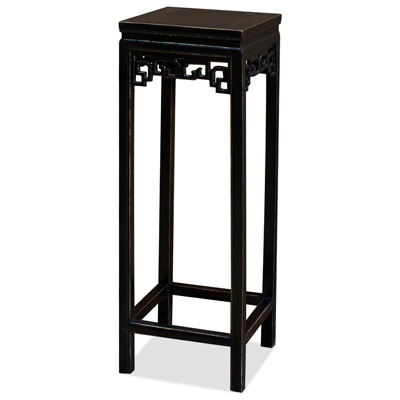 Distressed Black Elmwood Peking Cloud Pedestal