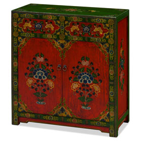 Hand Painted Red and Green Peony Motif Tibetan Chest
