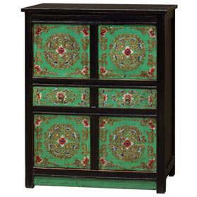 Hand Painted Mint Green Floral Motif Tibetan Storage Chest
