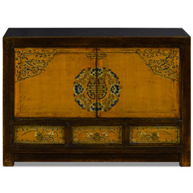 Distressed Golden Yellow Elmwood Qing Dynasty Cabinet