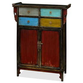 Distressed Multicolor Elmwood Qing Dynasty Altar Style Cabinet