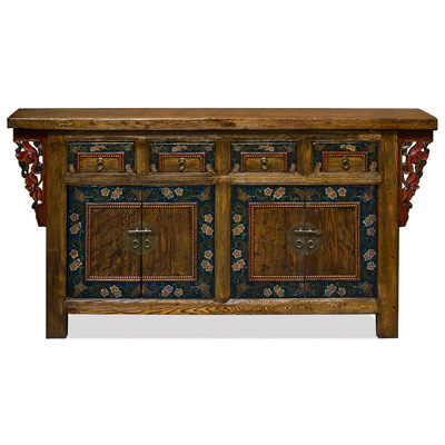 Elmwood Peking Altar Sideboard with Floral Art