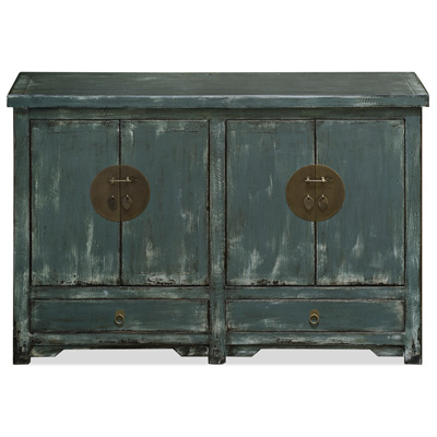 Distressed Blue Gray Elmwood Peking Ming Sideboard