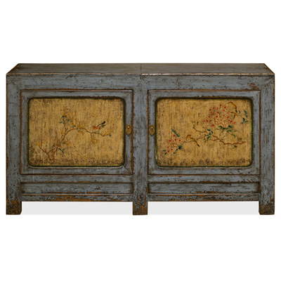 Distressed Gray and Yellow Elmwood Tibetan Cabinet