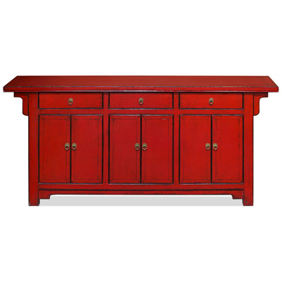 Distressed Red Elmwood Peking Oriental Altar Sideboard