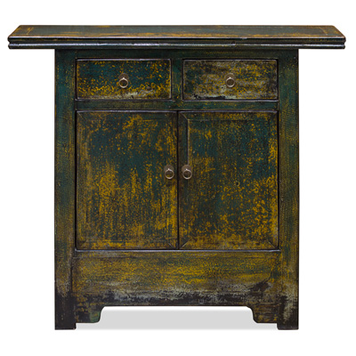 Distressed Dark Teal Elmwood Ming Altar Cabinet