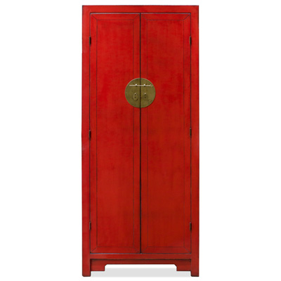 Distressed Red Elmwood Mandarin Ming Armoire