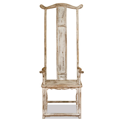 Distressed White Elmwood Ming Tall Arm Chair