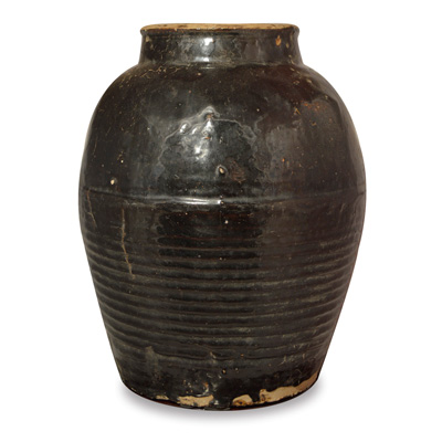 Antique Black Ceramic Vase from Shan Xi Village
