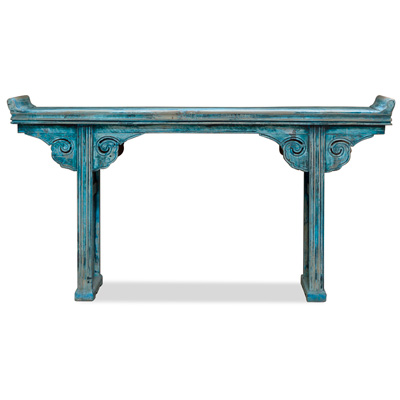 Vintage Blue Elmwood Altar Console Table