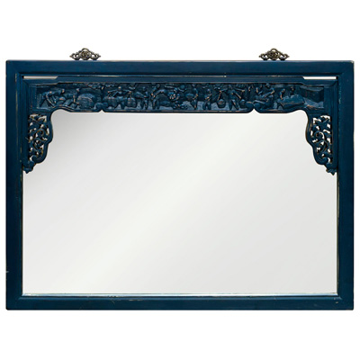 Vintage Indigo Lattice Trim Elmwood Asian Mirror