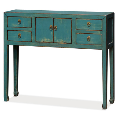 Distressed Blue Elmwood Petite Mandarin Console