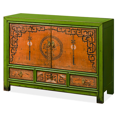 Elmwood Flower and Lucky Tassels Tibetan Cabinet