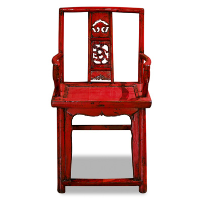 Vintage Red Elmwood Ming Arm Chair