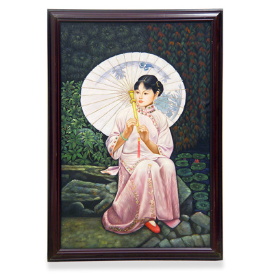 Lady with Umbrella Oil Painting