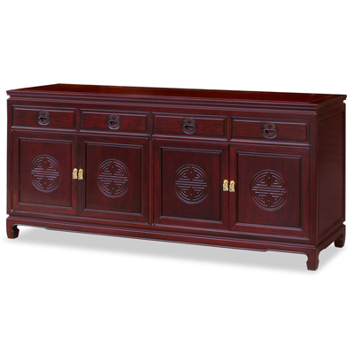 Grand Dark Cherry Rosewood Chinese Longevity Sideboard