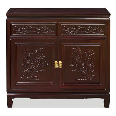 Dark Cherry Rosewood Flower and Bird Sideboard