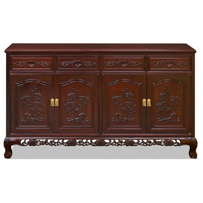 Mahogany Finish Rosewood French Grape Oriental Sideboard