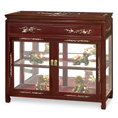 Dark Cherry Petite Rosewood Display Cabinet with Mother of Pearl Inlay
