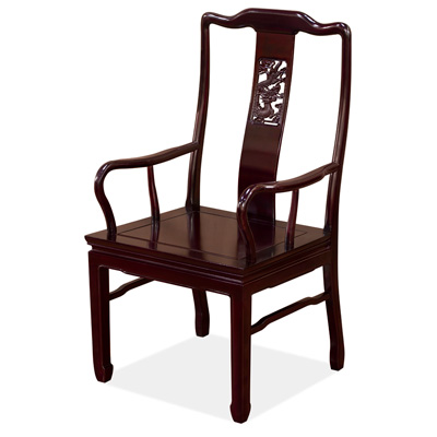 Dark Cherry Rosewood Dragon Oriental Arm Chair