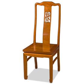 Natural Finish Rosewood Flower and Bird Chair