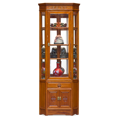 Natural Finish Rosewood Longevity Corner Display Cabinet