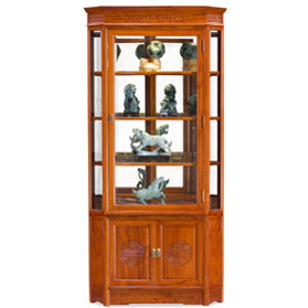 Natural Finish Rosewood Chinese Longevity Corner Display Cabinet