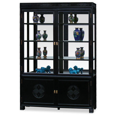 Black Rosewood Longevity China Cabinet