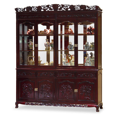 Dark Cherry Rosewood Motif China Cabinet