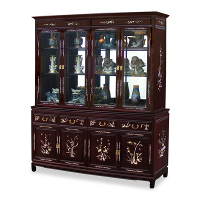 Dark Cherry Rosewood China Cabinet with Flower and Bird Mother of Pearl Inlay