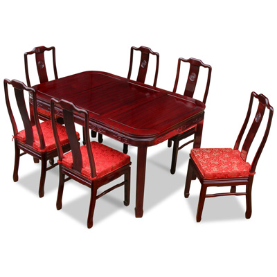 Dark Cherry Rosewood Chinese Longevity Rectangle Dining Set with 6 Chairs