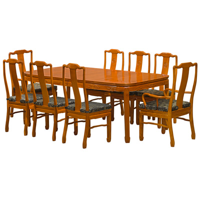 Natural Finish Rosewood Longevity Rectangle Dining Set with 8 Chairs