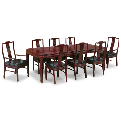 Dark Cherry Rosewood Chinese Longevity Rectangle Dining Set with 8 Chairs