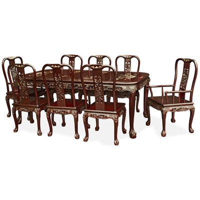 Dark Cherry Rosewood Queen Anne Dragon and Mother of Pearl Inlay Rectangle Dining Set  with 8 Chairs