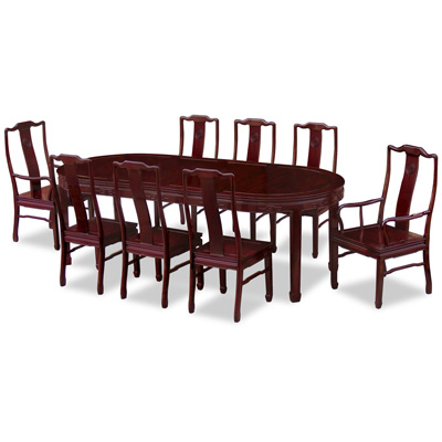Dark Cherry Rosewood Longevity Design Oval Chinese Dining Set with 8 Chairs