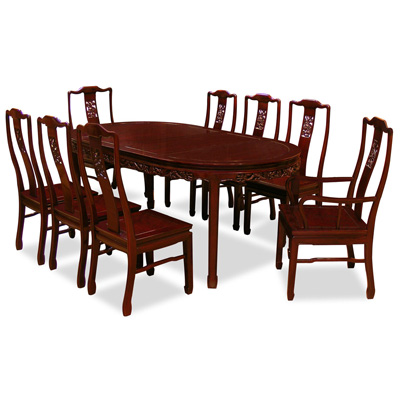 Dark Cherry Rosewood Dragon Oval Oriental Dining Set with 8 Chairs