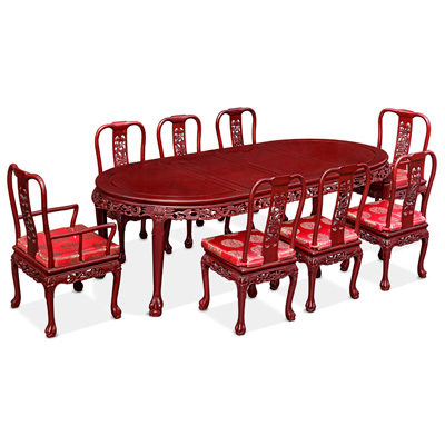 Dark Cherry Rosewood Queen Anne Dragon Oval Dining Set with 8 Chairs