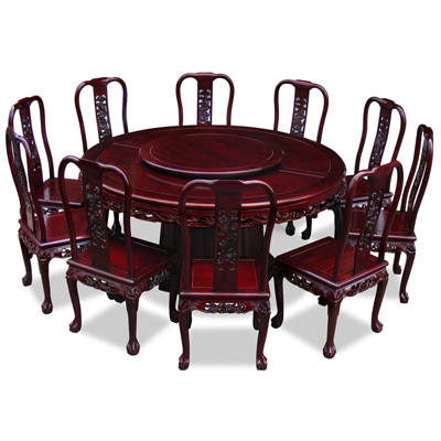 Dark Cherry Rosewood Queen Anne  Dragon Round Dining Set with 10 Chairs